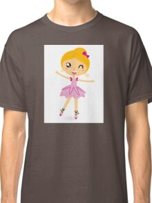 Blond ballet girl in pink costume isolated on white Classic T-Shirt