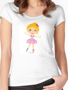 Blond ballet girl in pink costume isolated on white Women's Fitted Scoop T-Shirt
