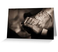Bride and groom couple man and woman holding hands in marriage wedding black and white sepia tone silver gelatin 35mm negative film photo Greeting Card