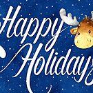 Swirly Happy Holidays Text and Cute Reindeer Christmas Card by Natalie Kinnear