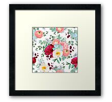 Autumn mixed bouquets of peony, ranunculus, succulents, wild rose, carnation, brunia and eucaliptus leaves Framed Print