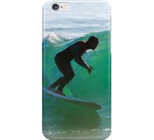 Long boarder surfing the waves at sunset iPhone Case/Skin