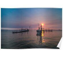 Old dock sunrise Poster
