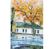 watercolor city autumn landscape Photographic Print