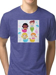 Cute colorful Mermaids with little sea creatures Tri-blend T-Shirt