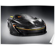 Black McLaren P1 plug-in hybrid supercar sports car art photo print Poster