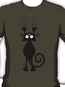 Cute Cartoon Black Cat Scratching T-Shirt