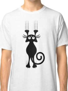 Cute Cartoon Black Cat Scratching Classic T-Shirt