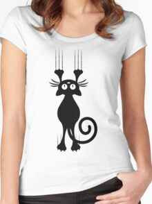 Cute Cartoon Black Cat Scratching Women's Fitted Scoop T-Shirt