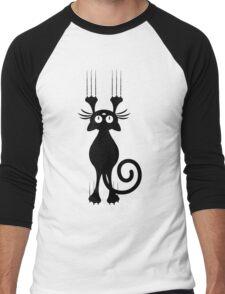 Cute Cartoon Black Cat Scratching Men's Baseball ¾ T-Shirt