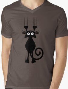 Cute Cartoon Black Cat Scratching Mens V-Neck T-Shirt