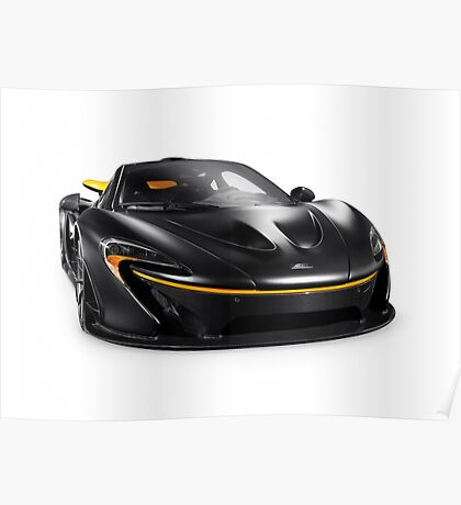 Black McLaren P1 plug-in hybrid supercar sports car isolated art photo print Poster