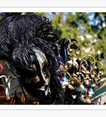 Impressions of Venice - Black and White Fantasy Face With Feathers Sticker