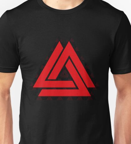 Triple Trouble In Red Unisex T-Shirt