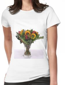 flower bouquet On white background  Womens Fitted T-Shirt