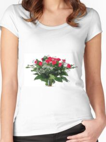 flower bouquet On white background  Women's Fitted Scoop T-Shirt
