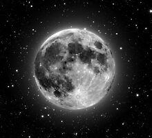 Full Moon and Stars by janeemanoo