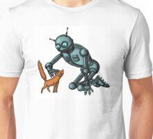 Funny Robot with Cat cartoon drawing art Unisex T-Shirt