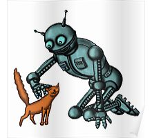 Funny Robot with Cat cartoon drawing art Poster