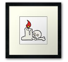 cartoon spooky skull and candle Framed Print