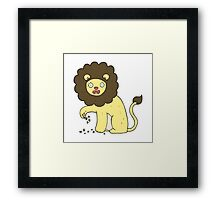 cartoon lion with thorn in foot Framed Print