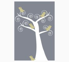 5 Yellow Birds in a Tree (Gray Background) Kids Tee