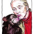 Jane Goodall - Chimp Kissies by Genevieve  Cseh