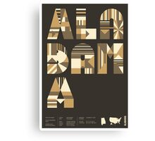 Typographic Alabama State Poster Canvas Print