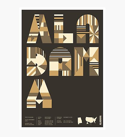 Typographic Alabama State Poster Photographic Print