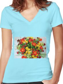 flower bouquet On white background  Women's Fitted V-Neck T-Shirt