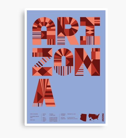 Typographic Arizona State Poster Canvas Print