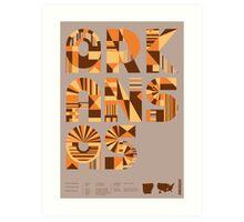 Typographic Arkansas State Poster Art Print