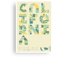 Typographic California State Poster Canvas Print