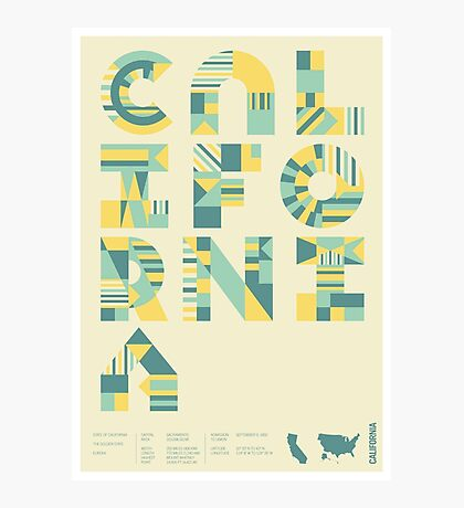Typographic California State Poster Photographic Print