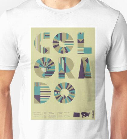 Typographic Colorado State Poster Unisex T-Shirt