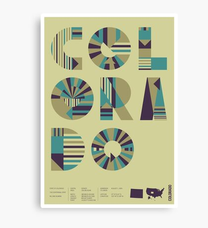 Typographic Colorado State Poster Canvas Print