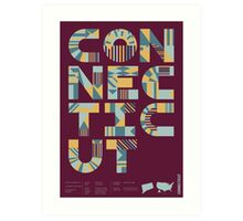 Typographic Connecticut State Poster Art Print