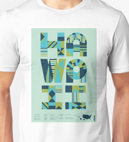 Typographic Hawaii State Poster Unisex T-Shirt