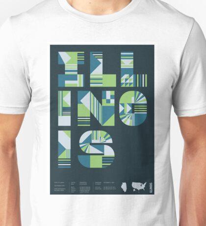 Typographic Illinois State Poster Unisex T-Shirt
