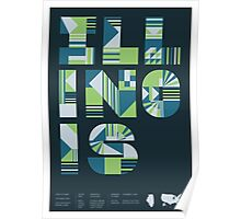 Typographic Illinois State Poster Poster