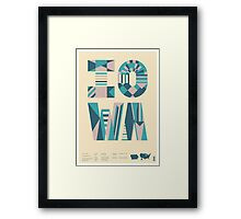 Typographic Iowa State Poster Framed Print