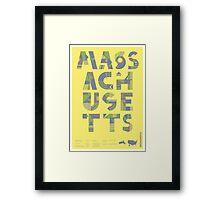 Typographic Massachusetts State Poster Framed Print
