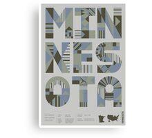 Typographic Minnesota State Poster Canvas Print