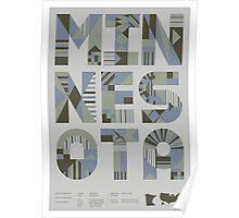 Typographic Minnesota State Poster Poster