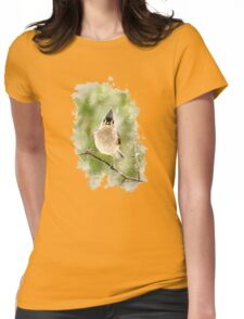 Tufted Titmouse Watercolor Womens Fitted T-Shirt