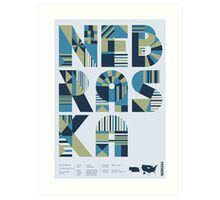 Typographic Nebraska State Poster Art Print