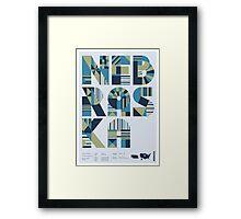 Typographic Nebraska State Poster Framed Print