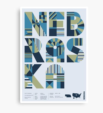Typographic Nebraska State Poster Canvas Print