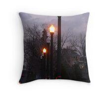 """Lamp Posts On Bridge In Purple Sky"" Throw Pillow"