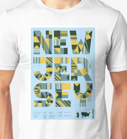 Typographic New Jersey State Poster Unisex T-Shirt